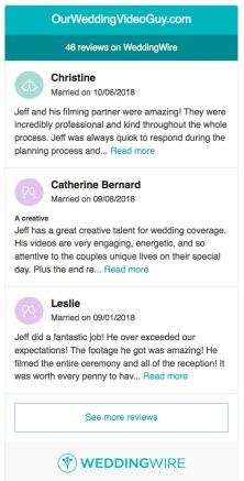 weddingwire reviews sample